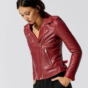 Iro Han Leather Jacket in Cranberry